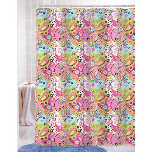 PVC Free PEVA Printed Shower Curtain Fun Colorful Paisley Floral Print70x72 Kelsey