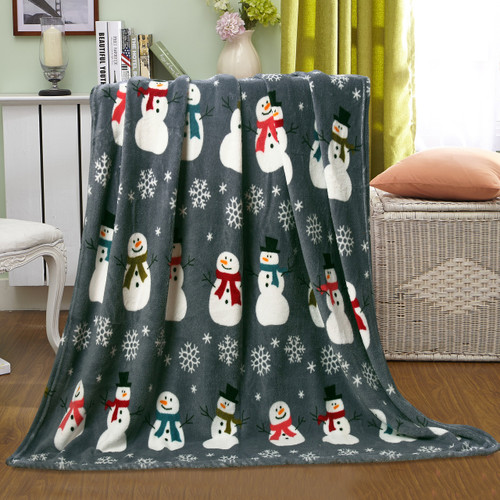 Holiday Christmas Throw Blanket, Soft & Plush, 50x60, Snowman