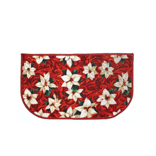 "hristmas Slice Kitchen Rug, Decor Mat, White Poinsettia - 18""x30"" D-Shape (K-KS030640)"