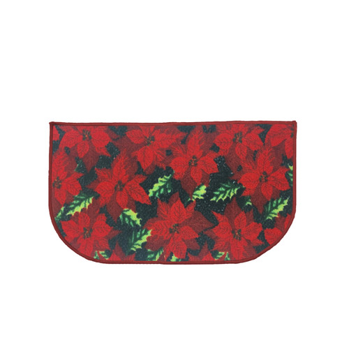 "Christmas Slice Kitchen Rug, Decor Mat, Red Poinsettia - 18""x30"" D-Shape (K-KS030633)"