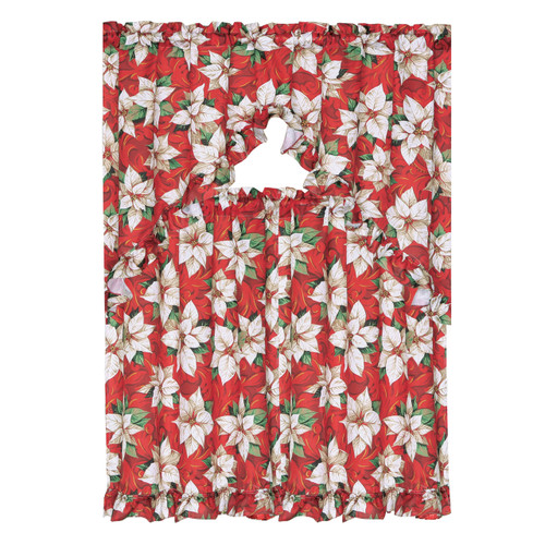 3 Piece Christmas Decorative Kitchen Curtain Set, Ruffled Swag Valance & Tiers (White Poinsettia) K-KC025264