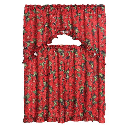 3 Piece Christmas Decorative Kitchen Curtain Set, Ruffled Swag Valance & Tiers (Red Poinsettia)