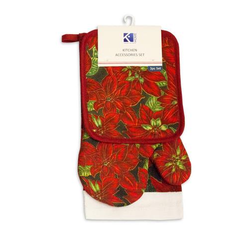 3pc Kitchen Accessories Set, Kitchen Towel, Oven Mitt, Pot Holder - Red Poinsettia