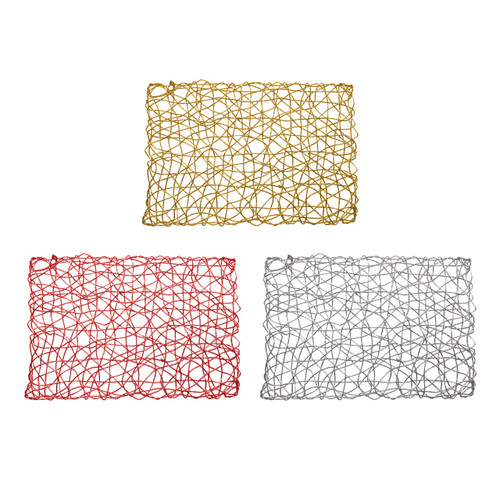 "Set of 4 Holiday Decorative 12""x18"" Rectangle Woven Metallic Foil Shining Placemats, Chargers - Gold, Red, Silver"