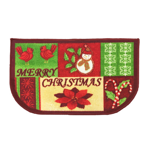 "Christmas Slice Kitchen Rug, Decor Mat, Merry Christmas - 18""x30"" D-Shape (K-KS054967)"