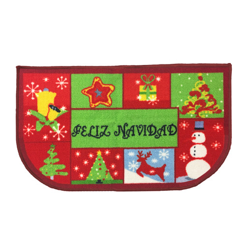 "Christmas Slice Kitchen Rug, Decor Mat, Feliz Navidad - 18""x30"" D-Shape (K-KS054974)"