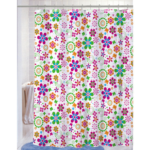 "PEVA Shower Curtain With Matching Metal Hooks, 70""x72"", Floral Geometric Print, Melissa (K-SC053045)"