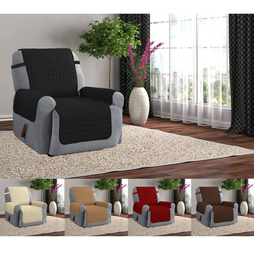 Quilted Microfiber Furniture Recliner Pet Protector Cover With Tucks & Strap