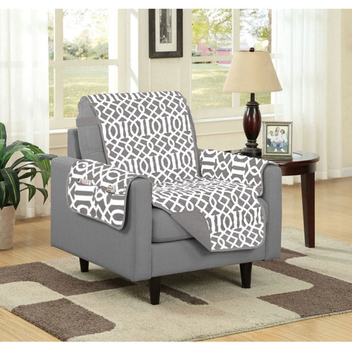 Dallas Reversible Solid/Print Microfiber Furniture Protector With Strap & Side Pockets