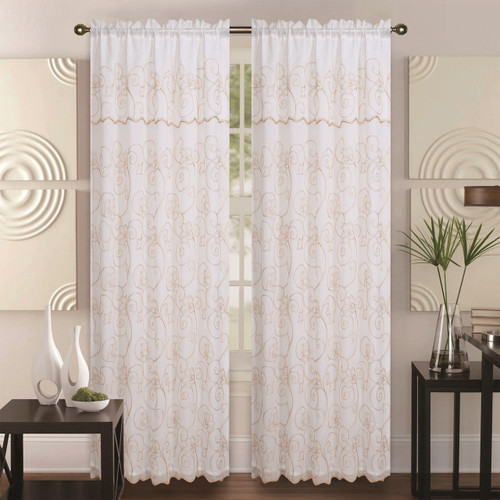 Double-Layer Embroidery Floral Sheer Linen Front / Faux Silk Back Rod Pocket Valance Decorative Curtain Panel 55x84 Inch, Selma Single Drape Panel