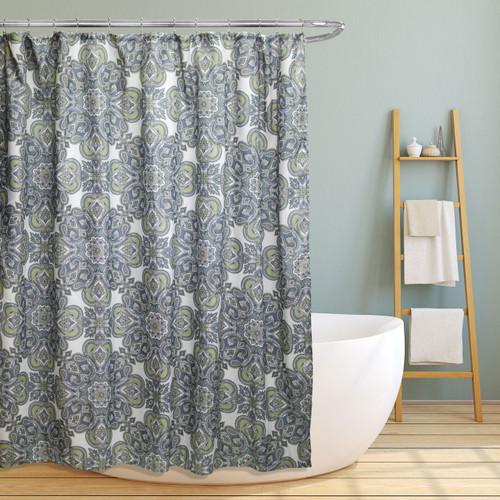 "Fabric Canvas Shower Curtain, 70""x70"", Amy, Geometric Paisely Floral Design (LS-SC026037)"