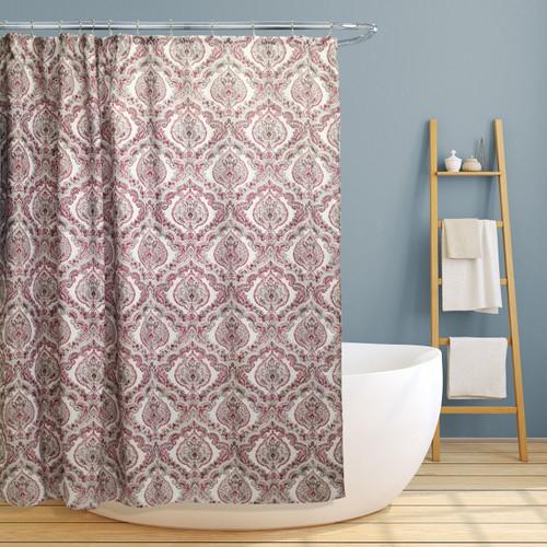 "Fabric Canvas Shower Curtain, 70""x70"", Rose, Burgundy Paisley Damask Design"