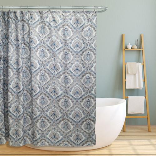 "Fabric Canvas Shower Curtain, 70""x70"", Elaine, Teal Paisley Damask Design"