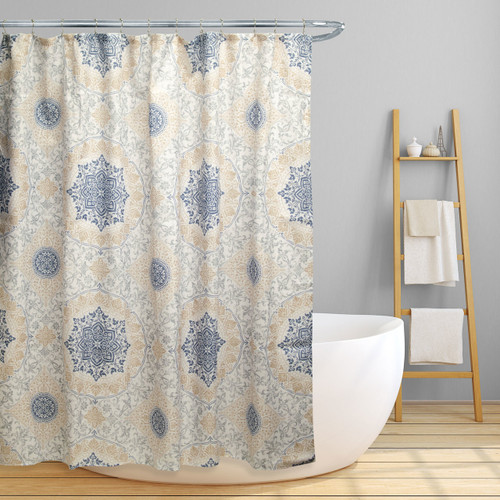 "Linen Store Fabric Canvas Shower Curtain, 70""x70"", Jenna, Floral Scroll Medallion Design (LS-SC028086)"