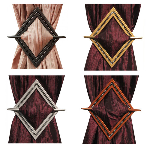 Decorative Bling Diamond Channel Curtain Holdbacks, Window Curtain Tieback - 4 Colors