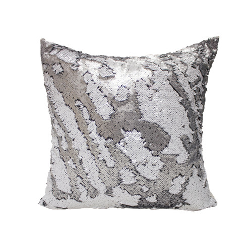 Decorative Sequin Throw Pillow 17x17 Inch, Comfortable Fill For Living Room, Couch, Bedroom, Fun Mermaid Reversible Style SILVER / WHITE MATTE (K-PT057081)