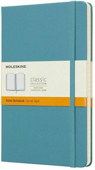 Moleskine Moleskine Classic Notebook, Large, Ruled, Blue Reef, Hard Cover 5 x 8.25
