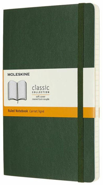Moleskine Moleskine Classic Notebook, Soft Cover, Myrtle Green, Large with Ruled pages