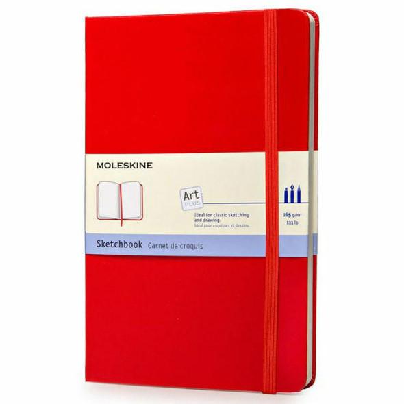 Moleskine Moleskine Art Plus Sketchbook, Large, Plain, Red, Hard Cover 5 x 8.25