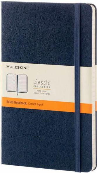 Moleskine Moleskine Classic Notebook, Large, Ruled, Sapphire Blue, Hard Cover 5 x 8.25