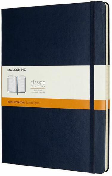 Moleskine Moleskine Classic Notebook, Extra Large, Ruled, Sapphire Blue, Hard Cover 7.5 x 10