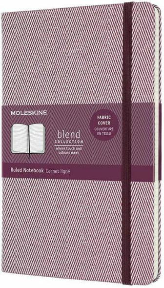 Moleskine Moleskine Blend Limited Collection Notebook, Large, Ruled, Herringbone Purple 5 x 8.25