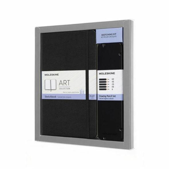 Moleskine Moleskine Art Collection Sketching Kit - Sketchbook Large Drawing Pencils Set, Large, Plain, Black, Hard Cover 5 x 8.25