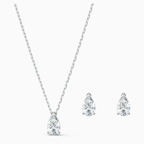 Swarovski Crystal Attract Pear Necklace & Earring Set, White, Rhodium Plated 5569174