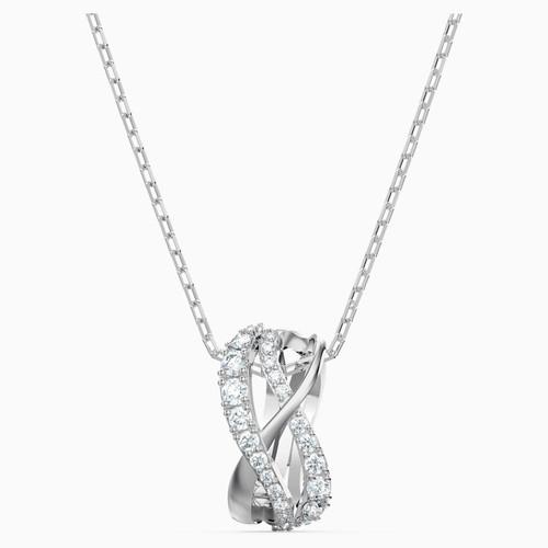 Swarovski Crystal Twist Rows Pendant, White, Rhodium Plated 5563906