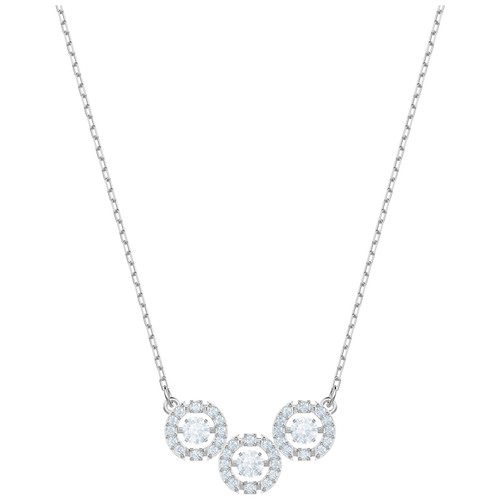 Swarovski Crystal Sparkling Dance Trilogy Necklace, Rhodium Plating 5465275