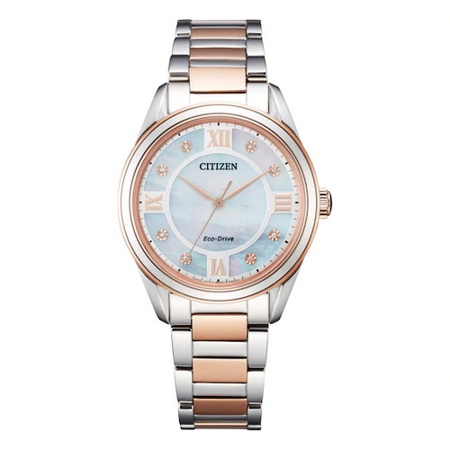 Citizen Eco Drive Women's Arezzo Pink Gold Stainless Steel Bracelet Watch EM0876-51D