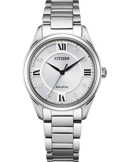 Citizen Eco Drive Women's Arezzo Diamond Silver Dial Stainless Steel Bracelet Watch EM0870-58A