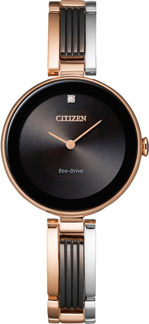 Citizen Eco Drive Women's Axiom Pink Gold-Tone & Black Ion Plating Watch EX1536-55E