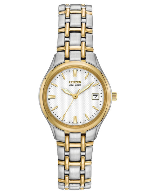 Citizen Eco Drive Women's Corso Stainless Steel Two-Tone White Dial Watch EW1264-50A