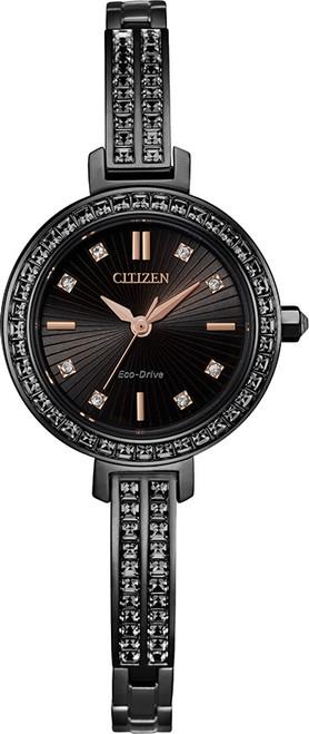 Citizen Eco Drive Women's Silhouette Swarovski Crystal Black Dial Watch EM0865-58E