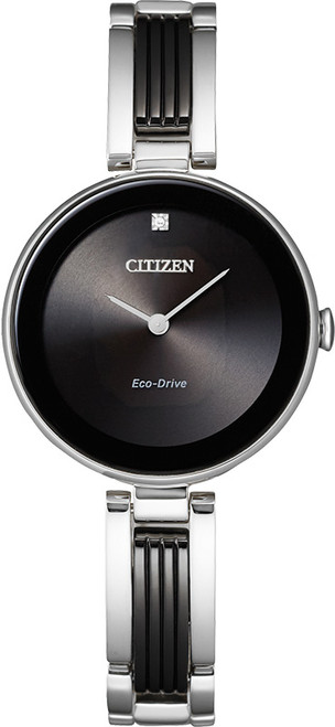 Citizen Eco Drive Women's Axiom Two-Tone Stainless Steel with Black Ion Case Watch EX1538-50E