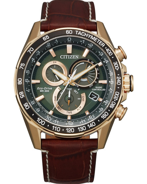 Citizen Eco Drive Men's PCAT Atomic Timekeeping Rose-Gold Tone Brown Leather Watch CB5919-00X
