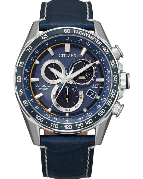 Citizen Eco Drive Men's PCAT Atomic Timekeeping Silver Tone Blue Leather Watch CB5918-02L