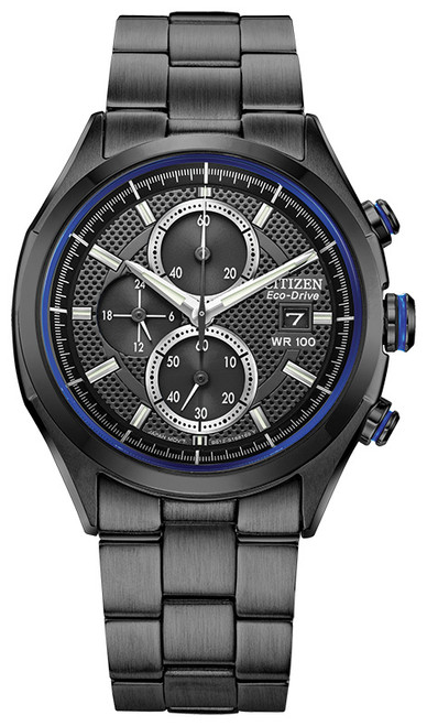 Citizen Eco-Drive Men's Drive Collection Chronograph Black Stainless Steel Watch CA0438-52E