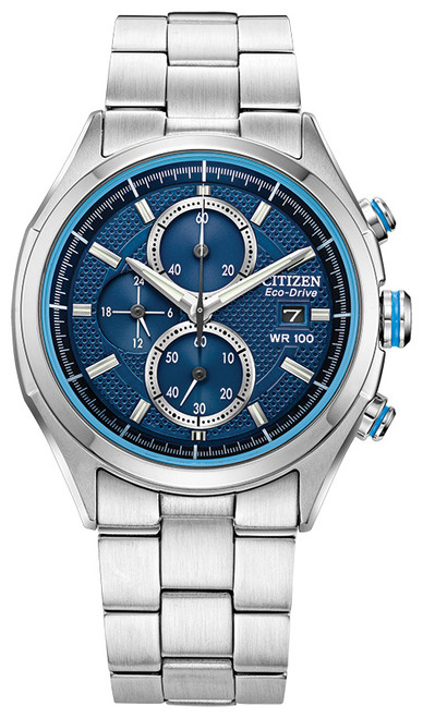 Citizen Eco-Drive Men's Drive Collection Chronograph Silver-Tone Blue Dial Watch CA0430-54M