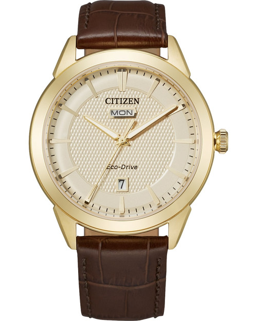 Citizen Eco Drive Men Corso Gold-Tone Brown Leather Strap Watch AW0092-07Q