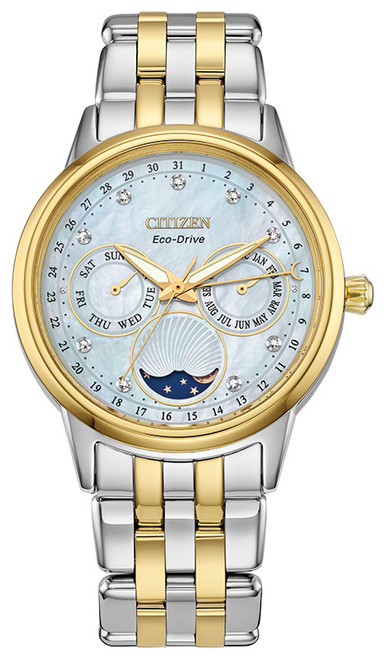 Citizen Eco Drive Women's Calendrier Diamond Moon Phase Two-Tone Stainless Steel Watch FD0004-51D