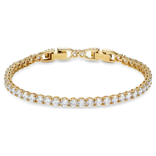Swarovski Crystal Tennis Deluxe Bracelet, White, Gold-Tone Plated 5511544