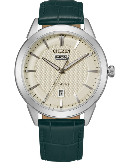 Citizen Eco Drive Men's Dress Classics Silver-Tone, Green Leather Strap, Watch AW0090-11Z