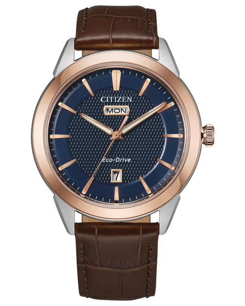 Citizen Eco Drive Men Dress Classics Navy Dial, Rose Gold Accent Watch AW0096-06L