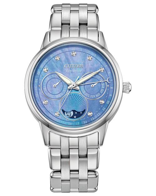 Citizen Eco Drive Women's Calendrier Diamond Blue Dial, Stainless Steel Bracelet Watch FD0000-52N