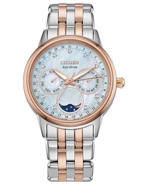 Citizen Eco Drive Women's Calendrier Pink Gold Tone Stainless Steel Bracelet Watch FD0006-56D