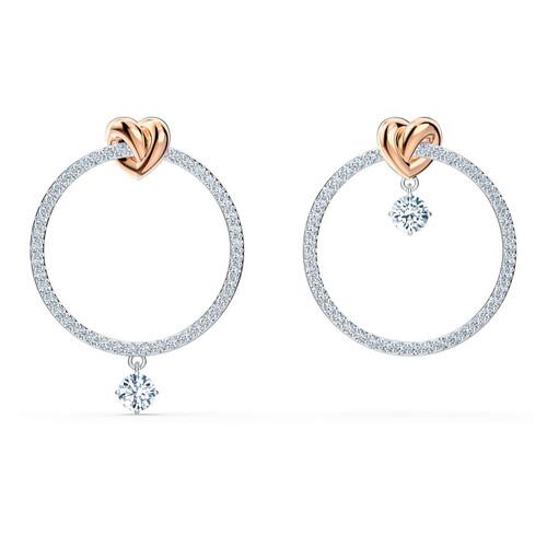 Swarovski Crystal Lifelong Heart Hoop Pierced Earrings, White, Mixed Metal Finish 5517933