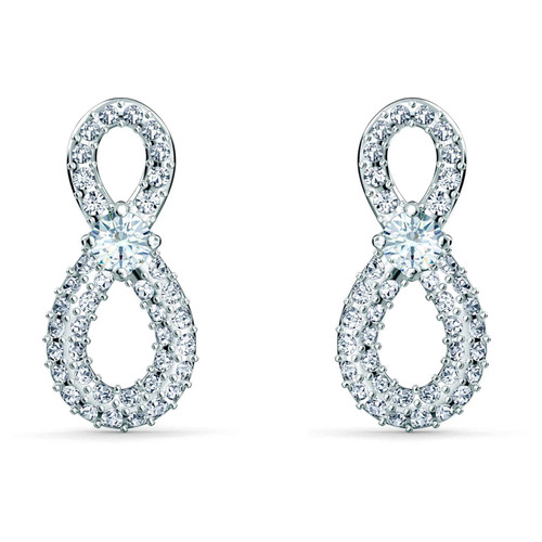Swarovski Crystal Infinity Mini Pierced Earrings, White, Rhodium Plated, 5518880