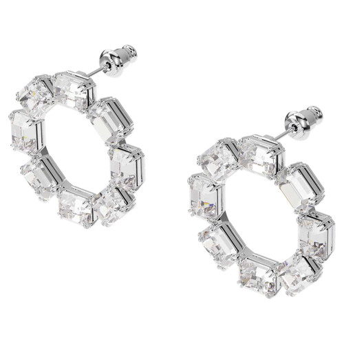 Swarovski Crystal Millenia Earrings Circle, White, Rhodium Plated 5602780